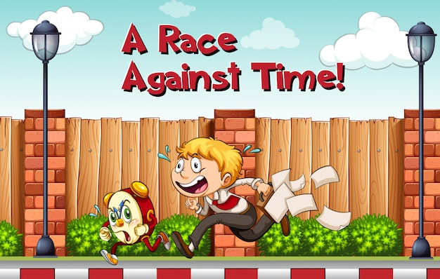Idiomatische poster voor race tegen tijd Gratis Vector