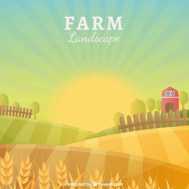 Idyllische boerderij landschap Gratis Vector