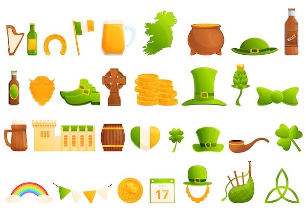 Ierland iconen set, cartoon stijl Premium Vector