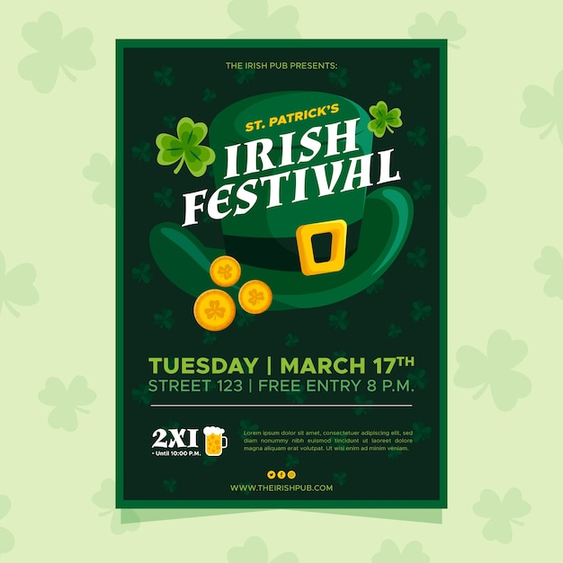 Iers festival st. patrick's day poster Gratis Vector