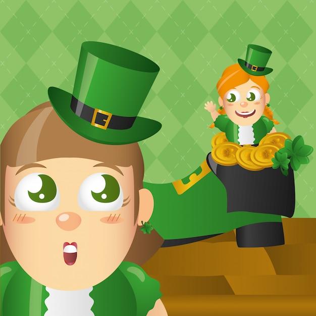 Ierse kabouter met hoed en munten, st patricks day Gratis Vector