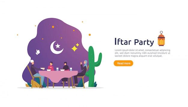 Iftar eten na het vasten feest feest concept Premium Vector