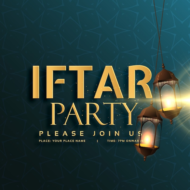 Iftar feestkaart ontwerp met hangende lampen Gratis Vector