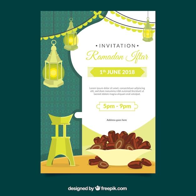 Iftar uitnodiging met voedsel en thee in vlakke stijl vector iftar uitnodiging met voedsel en thee in vlakke stijl gratis vector stopboris Image collections