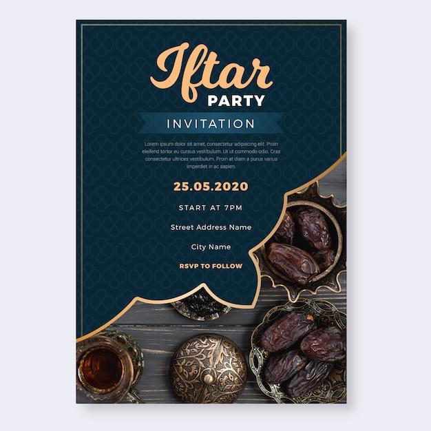 Iftar uitnodiging voor feestje plat ontwerp Gratis Vector
