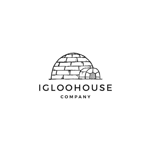 Iglo huis logo vector pictogram illustratie Premium Vector