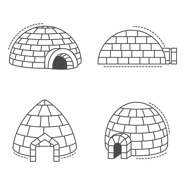 Igo eskimo pictogramserie. overzichtsreeks iglo eskimo vectorpictogrammen Premium Vector