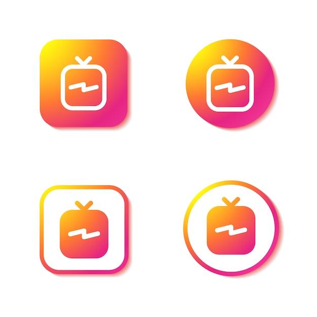 Igtv-pictogrammen. set van instagram-borden. Premium Vector