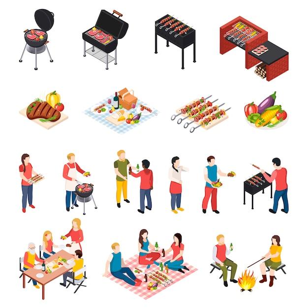 Iisometic bbq grill picknick icon set met volkeren eettafel picknick en grill apparatuur Gratis Vector