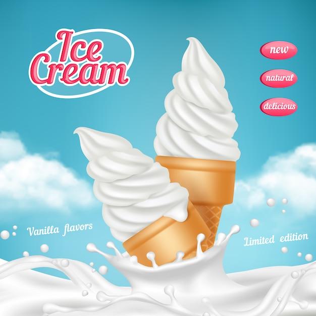 Ijs advertenties. natuurlijk bevroren ijsdessert met fruit realistisch beeldmalplaatje voor het adverteren van aanplakbiljet Premium Vector