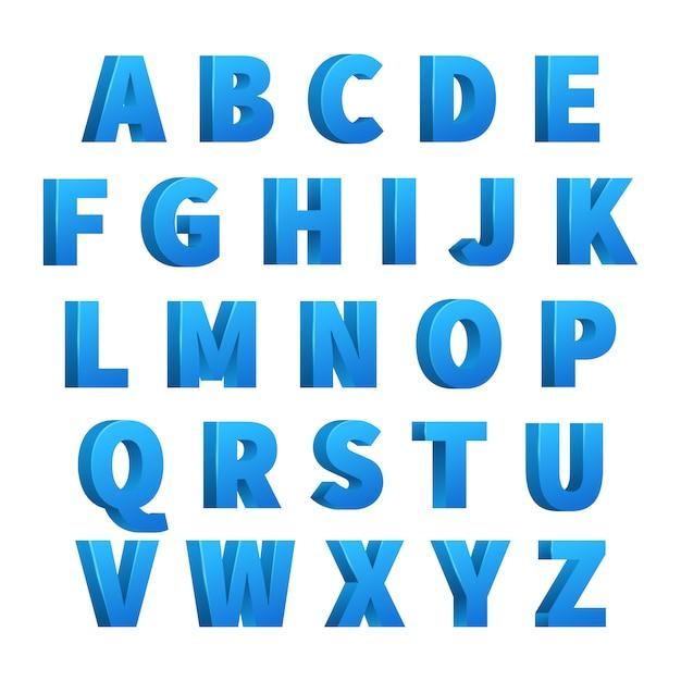 Ijs blauwe 3d letters Premium Vector