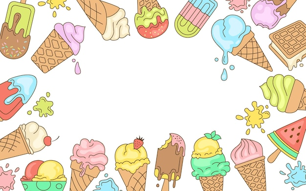 Ijs heldere lijn wenskaart, zoete achtergrond voor tekst. chocolade, vanille doodle-ijshoorntje fruit, munt, bes Premium Vector