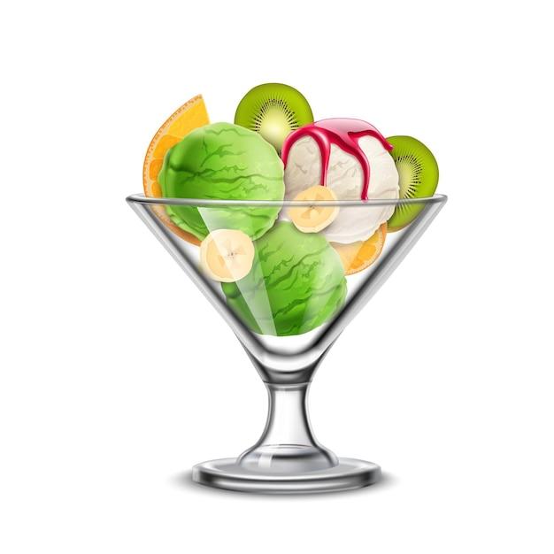 Ijs in realistische samenstelling met glazen kom met heerlijke pistache-ijslepels gemengd met kiwi en banaan Gratis Vector