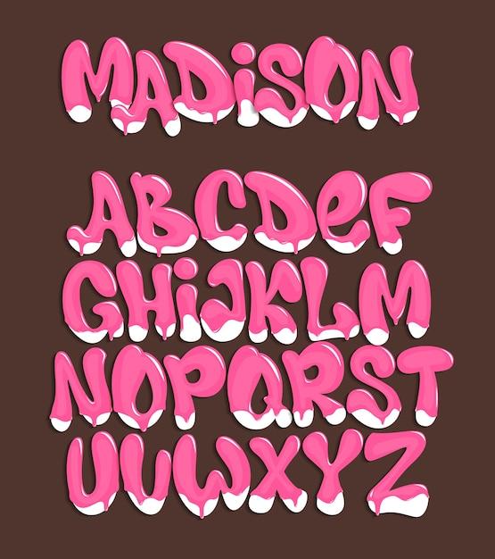 Ijs lettertype. koud zoet alfabet. dessert belettering. Premium Vector