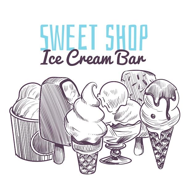 Ijs schets achtergrond. hand getrokken bevroren romige desserts, wafel kegel sundae chocolade glazuur fruit noten retro menu Premium Vector