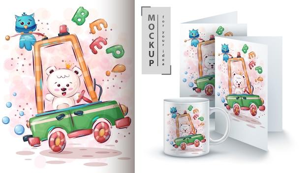 Ijsbeer in auto poster en merchandising Gratis Vector