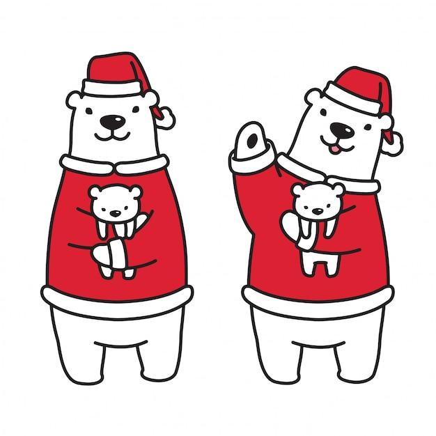 Ijsbeer met kerst snoep en kerstmuts Premium Vector
