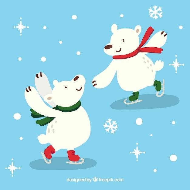ijsberen schaatsen vector gratis download