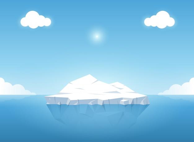 Ijsberg in blauwe oceaan op de zomer. vector illustratie. Premium Vector