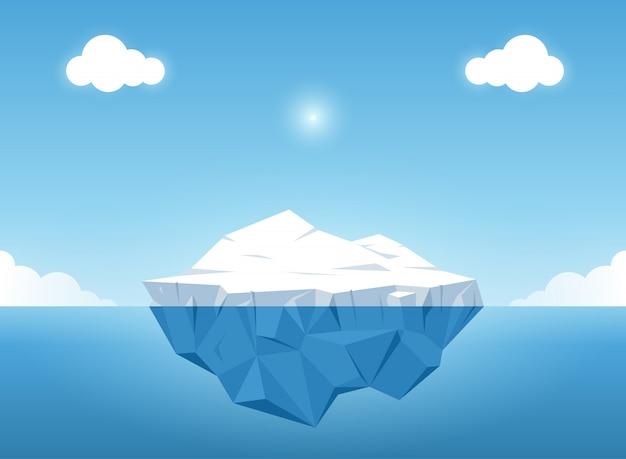 Ijsberg met boven en mooie transparante onderwatermening in de oceaan. vector illustra Premium Vector
