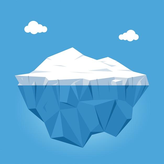Ijsberg met boven en onderwatermening op blauwe achtergrond met wolken. vector illustratie Premium Vector