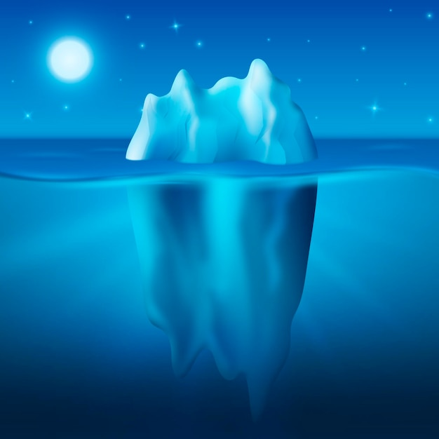 Ijsberg onder de sterrennacht Gratis Vector