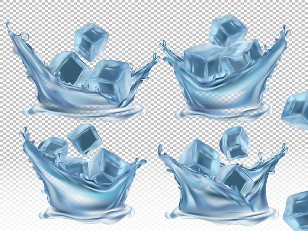 Ijsblokje en water splash Premium Vector