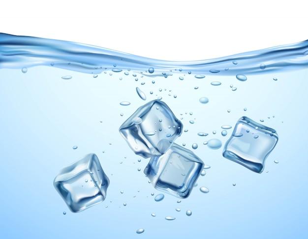 Ijsblokjes in water Gratis Vector