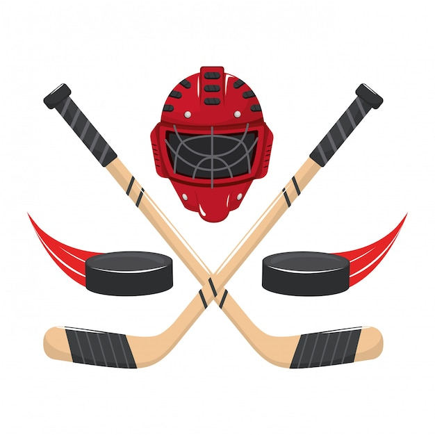 Ijshockey elementen cartoon Premium Vector