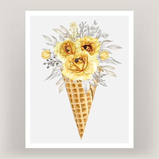 Ijshoorntje met aquarel bloem rose goud geel Gratis Vector
