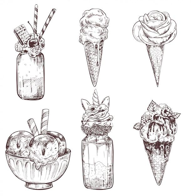 Ijsillustraties van bevroren romige desserts Premium Vector