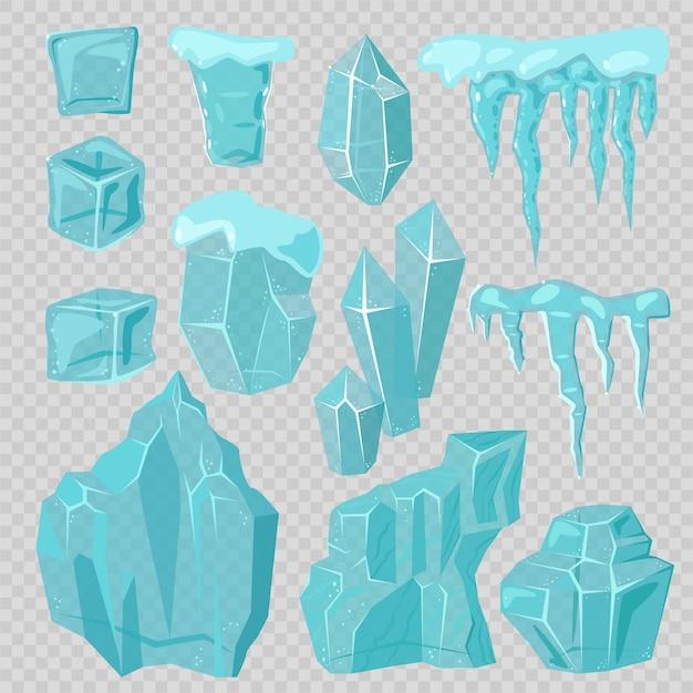 Ijskappen sneeuwbanken en ijspegels elementen vector set Premium Vector