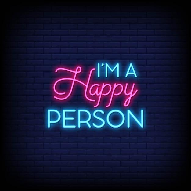 Ik ben een gelukkig mens voor poster in neonstijl. moderne citaatinspiratie in neonstijl. Premium Vector