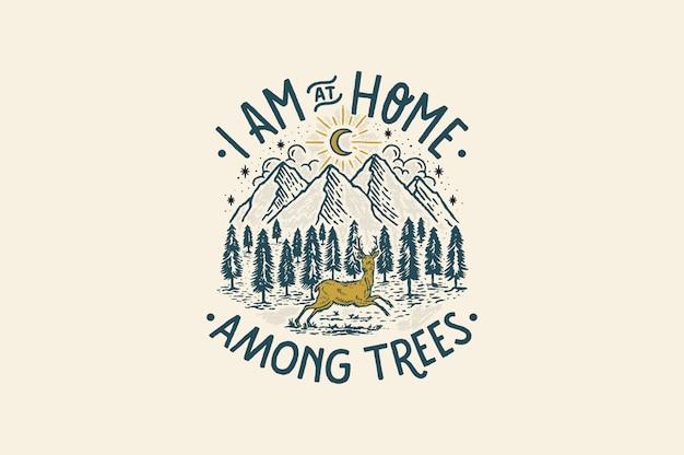 Ik ben thuis tussen de bomen Premium Vector