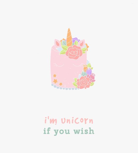 Ik ben unicorn zoals je een typografische wenskaart wilt. Premium Vector