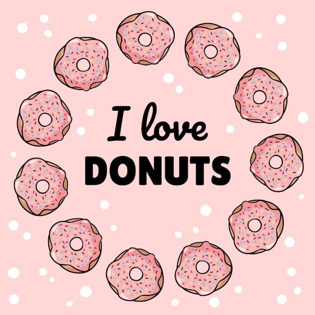 Ik hou van donuts vierkante sjabloon smakelijke briefkaart Premium Vector