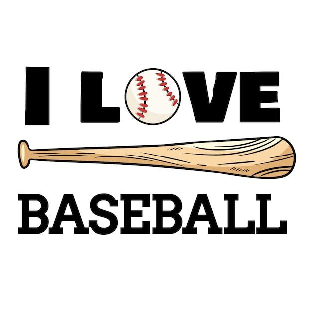 Ik hou van honkbalsportontwerp. honkbal bal en vleermuis typografie afdrukken Premium Vector
