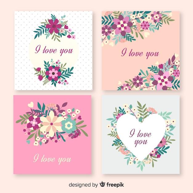 Ik hou van je bloemenkaarten Gratis Vector