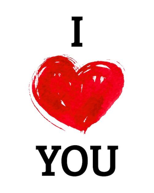 Ik hou van je met hart in aquarelstijl Premium Vector