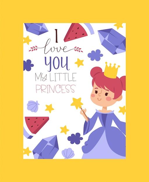 Ik hou van je mijn kleine prinses uitnodiging, wenskaart. elegante kleine vrouwelijke personages in vlakke stijl. modieuze dames in jurken. Premium Vector