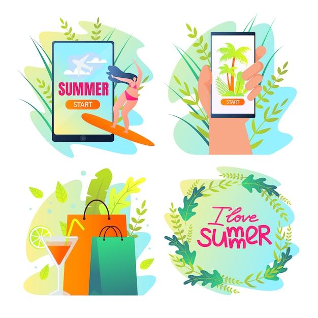 Ik hou van zomer typografie, zomer icons set Premium Vector