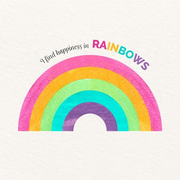 Ik vind geluk in regenbogenbericht met waterverfregenboog Gratis Vector