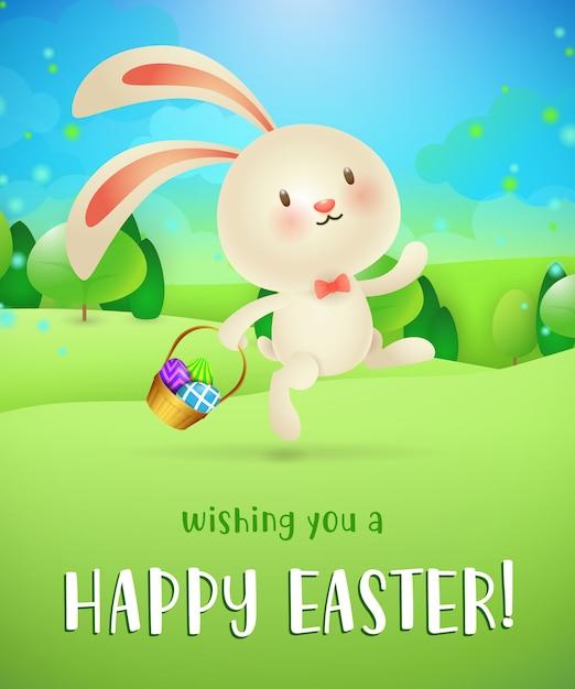 Ik wens je een gelukkig pasen-lettertype, konijn met eieren in de mand Gratis Vector