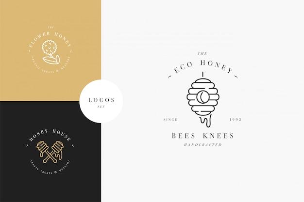 Illustartion-logo's en ontwerpsjablonen of badges instellen. biologische en eco honing labels en tags met bijen. lineaire stijl en gouden kleur. Premium Vector