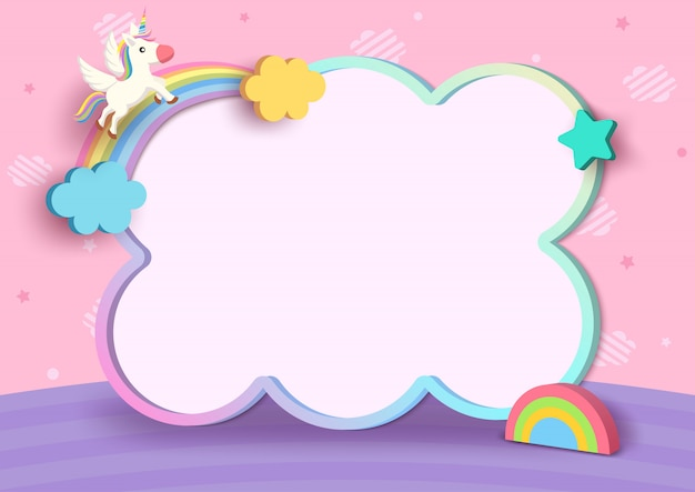 Illustratie 3d stijl van eenhoorn en regenboog met leuk kader op de roze achtergrond van het wolkenpatroon. Premium Vector