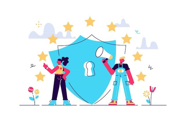 Illustratie. algemene regels voor gegevensbescherming gdpr. Premium Vector