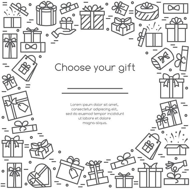 Illustratie banner met ingepakte en versierde geschenkdozen pictogrammen Premium Vector