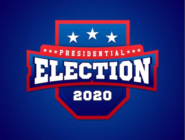 Illustratie banner met schild. amerikaanse vlag. presidentsverkiezingen in. Premium Vector