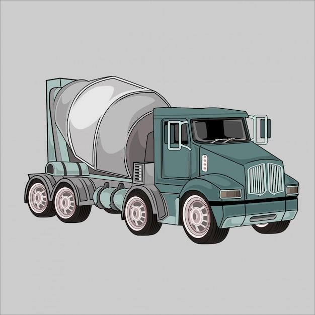 Illustratie beton mengen vrachtwagens Premium Vector