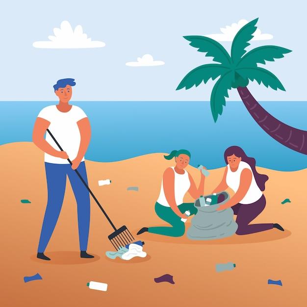 Illustratie concept mensen strand schoonmaken Gratis Vector
